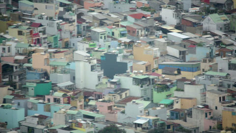 Areal view of Ho Chi Minh City Slums, Saigon, Viet Stock Video Footage