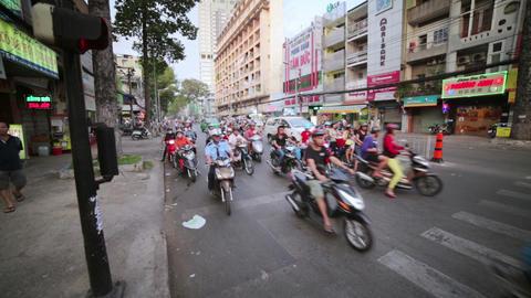 SAIGON, VIETNAM - MAY 2014: crazy motorbike traffi Stock Video Footage