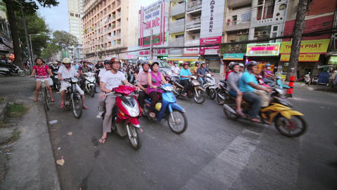 SAIGON, VIETNAM - MAY 2014: crazy motorbike traffi Footage