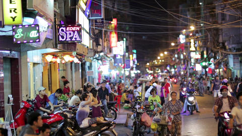 SAIGON, VIETNAM - MAY 2014: Nightlife with bars an Footage
