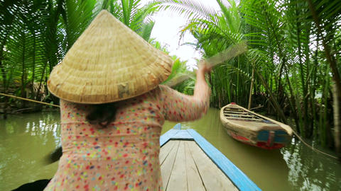 Rower Paddle Canoe at Majestic Gorgeous Mekong Riv Footage
