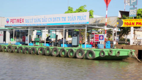 MEKONG DELTA, VIETNAM - 14 MAY 2014: Floating mark Stock Video Footage