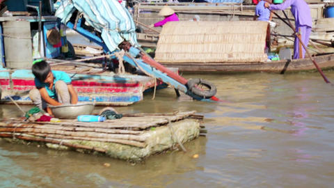MEKONG DELTA, VIETNAM - MAY 2014: floating market Stock Video Footage