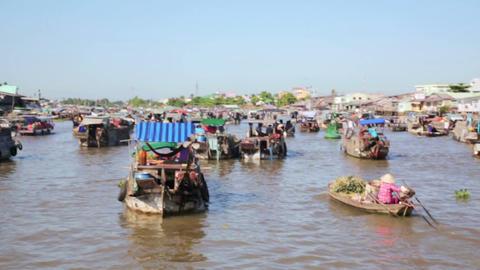 floating market, mekong delta, vietnam Footage