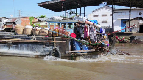 floating market, mekong delta, vietnam Stock Video Footage