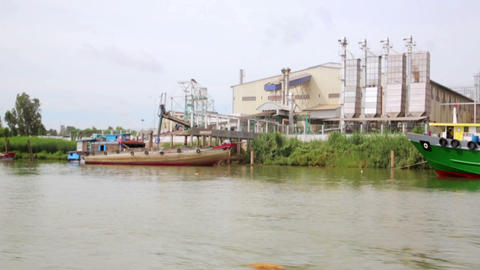 floating market slums near factory, mekong delta, Stock Video Footage