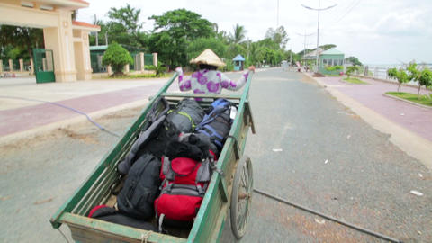 Wheelbarrow hand cart carrier porter in Vietnam Stock Video Footage