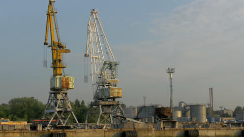 The Huge Cranes On Standby On The Harbour Port In  stock footage