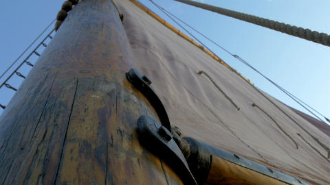 A sail mast of the ship with a big cloth for saili Footage