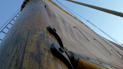 A sail mast of the ship with a big cloth for saili Footage