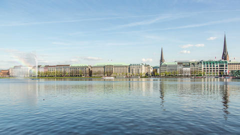 Hamburg alster lake DSLR hyperlapse Stock Video Footage