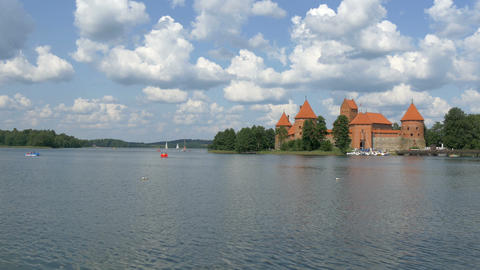 A red medieval castle in Trakai Lithuania GH4 4K U Footage