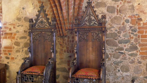 The kings chair displayed inside the old castle in Footage