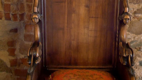 The details of the kings chair from the old castle Footage