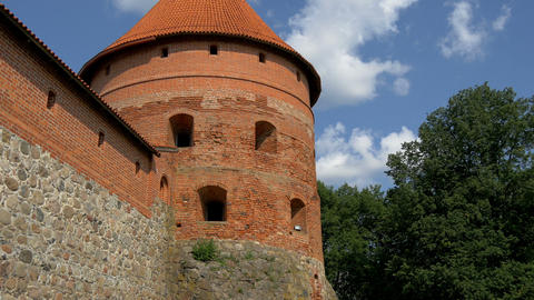The Big Dome Tower Of The Old Castle In Trakai GH4 stock footage