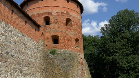 The big dome tower of the old castle in Trakai GH4 Stock Video Footage