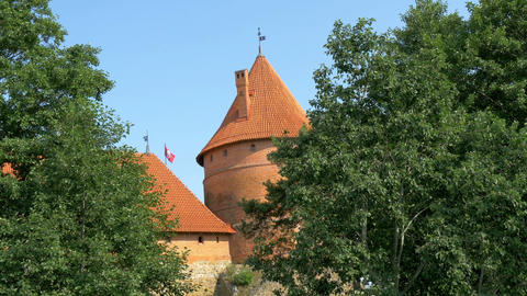 Trees covering the red brick castle in Trakai GH4  Footage