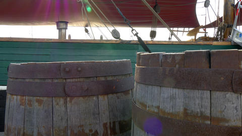 Two old barrels inside the galleon ship GH4 4K UHD Stock Video Footage