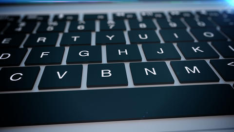 Closeup of laptop's keyboard pan Stock Video Footage