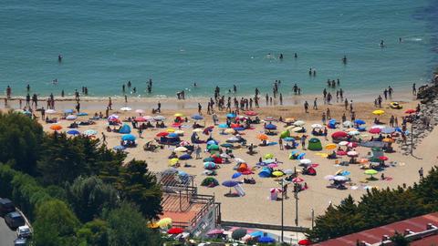 People Moving on Beach Footage