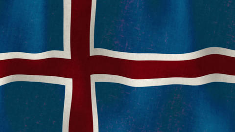 Waving Flag Of Iceland, Loopable stock footage