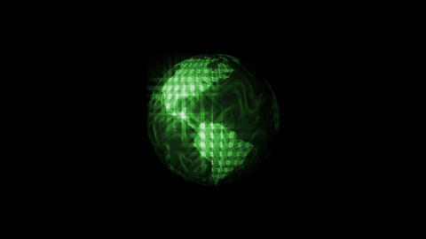 Digital World Binary Code Animation, Green. Global Animation