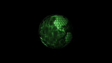 Digital World Binary Code Animation, Green. Global Stock Video Footage