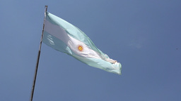 001 Argentina flag on blue sky , slowmotion Footage