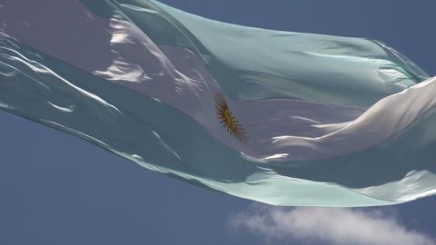 003 Argentina flag on blue sky Footage