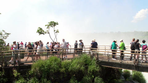 040 Iguazu waterfalls , viewed from Argentina , pe Stock Video Footage