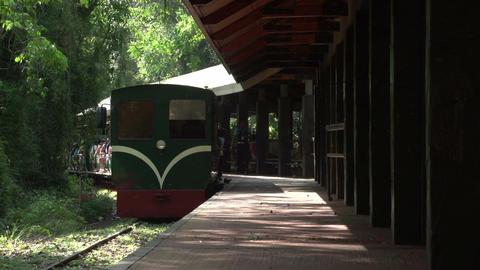 070 Iguazu waterfalls , Argentina , train leaves s Stock Video Footage