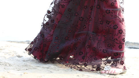 burgundy dress developing in the wind Footage