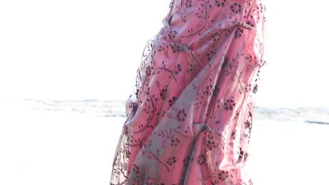 burgundy dress developing in the wind Stock Video Footage