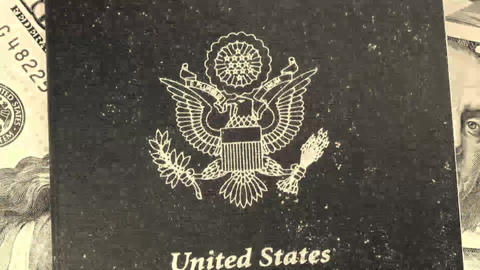 United States of America travel passport Stock Video Footage