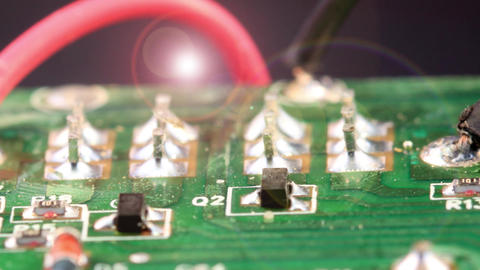 Green circuit board - Microelectronic components Footage