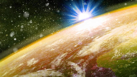 Sun Glowing Over Earth Animation stock footage