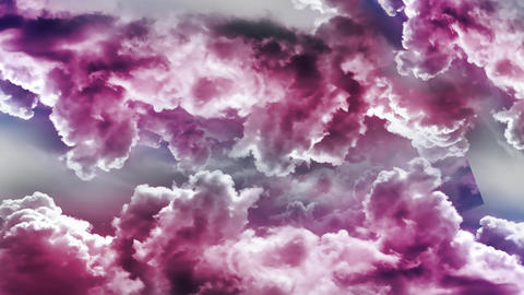 Flying Through Pink Clouds Animation Video Stock Video Footage