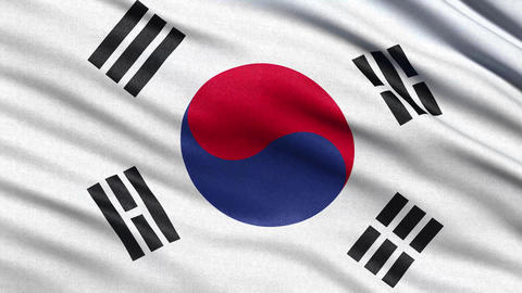 4K Flag of South Korea seamless loop Ultra-HD Animation