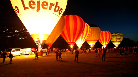 A Show With Hot Air Balloons In A Night Glow stock footage