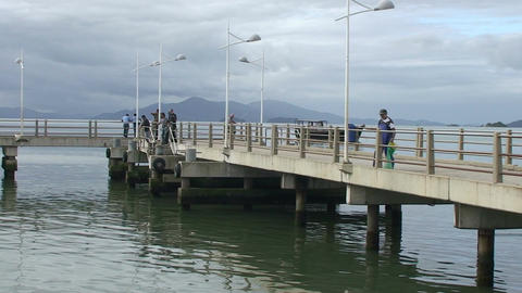 025 Florianopolis , fisherman on quay at sea Footage