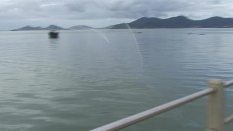 030 Florianopolis , fisherman throw his net in sea Footage