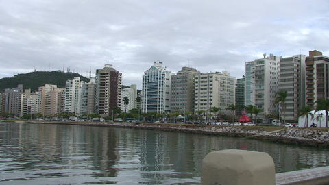 036 Florianopolis , skyline Beira Mar avenue , wat Stock Video Footage