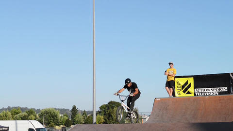 Emanuel Mendes during the DVS BMX Series 2014 by F Stock Video Footage