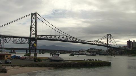 049 Florianopolis , Hercilio Luz bridge , skyline Footage
