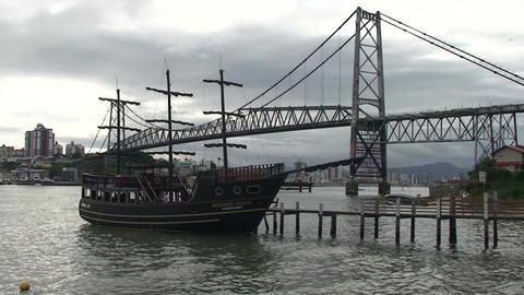 051 Florianopolis , Hercilio Luz bridge , skyline  Footage