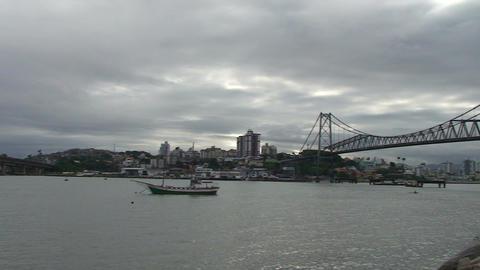 053 Florianopolis , Hercilio Luz bridge , skyline Stock Video Footage