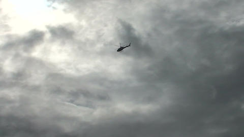 055 Florianopolis , Helicopter on cloudy sky Footage