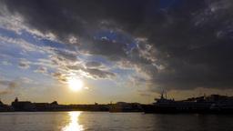4K Port Sunset Timelapse Ships Docking stock footage