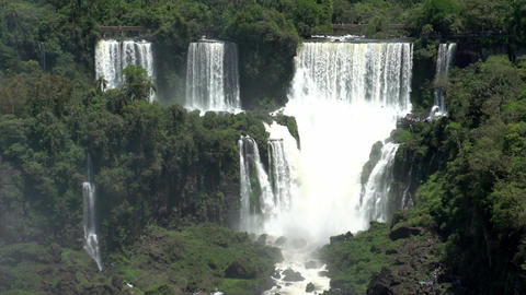 021 Iguazu waterfalls , viewed from Brazil Stock Video Footage