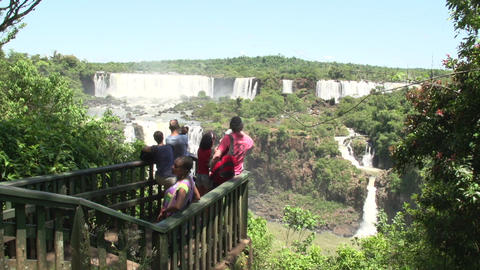 032 Iguazu waterfalls , tourists take pictures of  Footage